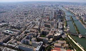 Фотографии Франция Реки Здания Мост Париже Сверху Montparnasse