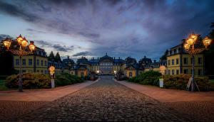 Фотография Германия Замки Ночные Уличные фонари Arolsen Castle, Bad Arolsen