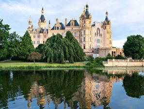 Фото Германия Замки Озеро Schwerin castle город