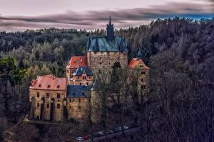 Обои для рабочего стола Германия Лес Замок Крепость Деревья Башня Kriebstein Castle Природа