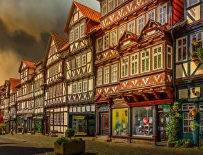 Обои Германия Дома HDR Улица Bad Sooden-Allendorf, Hessen Города картинки