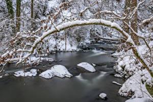 Картинки Германия Зимние Леса Реки Камни Снег Rheinland-Pfalz Природа