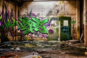 Картинка Граффити Стена Дверь Кирпичный