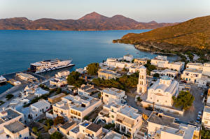 Фотографии Греция Здания Причалы Залив Сверху Adamas, Milos город