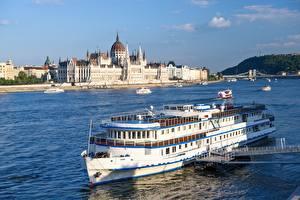 Фото Венгрия Будапешт Реки Речные суда Мосты Parliament, Danube