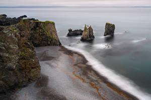 Обои Исландия Побережье Утес Сверху Природа