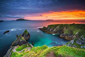 Обои Ирландия Побережье Рассветы и закаты Скале Kerry