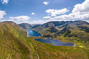 Картинка Ирландия Горы Озеро Облако Долина Doolough Valley Природа