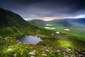 Фото Ирландия Гора Камень Облачно Холм Kerry