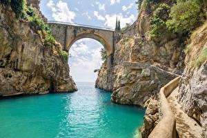 Фото Италия Мост Скала fjord Furorе, Amalfi coast Природа