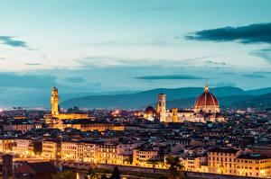 Фотографии Италия Флоренция Вечер Собор Duomo S. Maria del Fiore Города