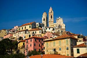 Картинки Италия Здания Церковь Башня Cervo
