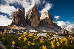 Фотографии Италия Горы Скала Облака Dolomites