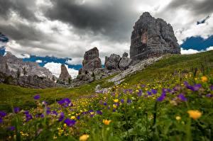Картинки Италия Гора Луга Скале Альп Облака Траве Dolomites, meadow geranium
