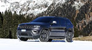 Картинка Jeep Снегу Черный SUV Металлик Grand Cherokee, Trailhawk, EU-spec, 2017 машина