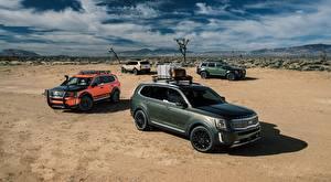 Обои для рабочего стола Киа Пустыня CUV Telluride, US-spec, 2019 авто