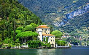 Обои Озеро Вилла Италия Горы Villa del Balbianello, Feudal, lake Como Города картинки