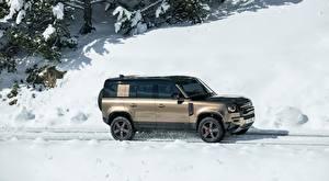 Картинка Range Rover Снегу Сбоку Внедорожник Defender 110, P400 X, 2020