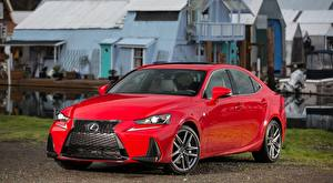 Картинки Lexus Седан Красная Металлик IS 200t F, SPORT, CA-spec, 2017