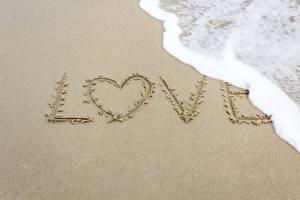 Фотография Любовь Песок Слова Сердечко Пеной Английский Природа