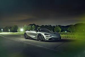 Картинка Макларен Серые Кабриолет 2019-20 Novitec McLaren 720S Spider автомобиль