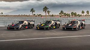 Обои McLaren Тюнинг Втроем Черных Металлик 2018-20 Senna