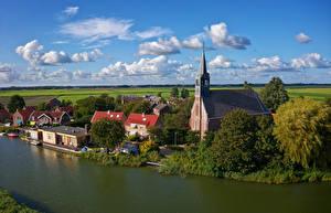 Фото Голландия Здания Реки Церковь Причалы Oudendijk