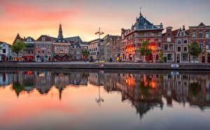 Фотография Нидерланды Рассветы и закаты Река Отражается Haarlem, Spaarne River город