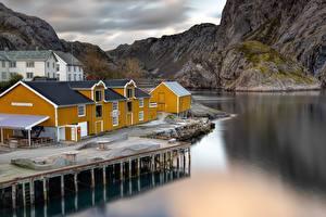 Фотографии Норвегия Пристань Дома Лофотенские острова