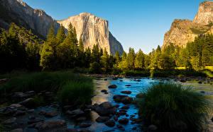 Обои Парк Река Штаты Гора Камни Лес Йосемити Калифорнии Траве Sierra Nevada Природа