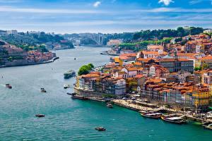 Фото Порту Лиссабон Речка Пирсы Речные суда Здания Douro river Города