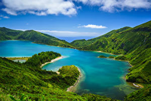 Фото Португалия Озеро Гора Холмы Облака Azores, Lagoa do Fogo Природа