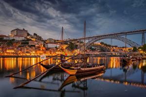 Обои Португалия Портус Кале Мост Река Лодки Douro River Города