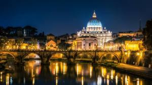 Картинка Рим Италия Речка Мосты Церковь Ночью Tiber river город