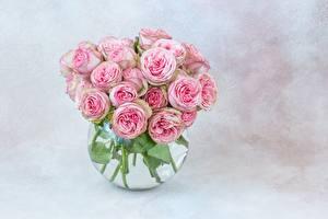 Картинка Розы Букет Вазе Розовый Цветы