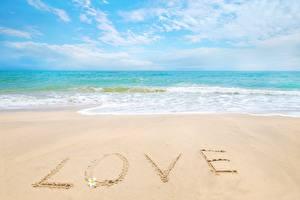 Картинка Море Любовь Пляжи Песке Текст Английский