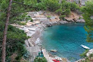 Картинки Испания Мальорка Майорка Берег Пирсы Камни Лодки Здания Escorca Природа