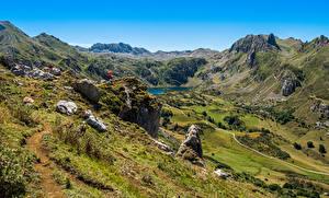 Картинка Испания Гора Озеро Камень Долина Somiedo