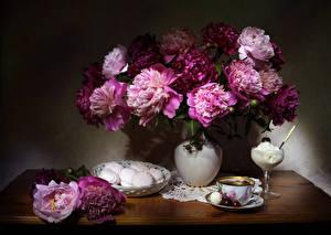 Обои для рабочего стола Натюрморт Пионы Зефир Мороженое Чай Вишня Вазе Чашка цветок