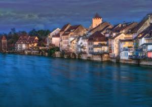 Фотографии Швейцария Дома Река Вечер HDR Rheinfelden, Aargau город
