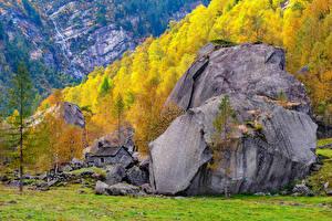 Фото Швейцария Горы Осенние Камень Дерева Альп Ticino Природа