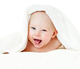 Обои Полотенце Младенцы Радость Белый фон Дети
