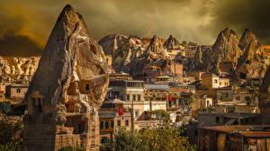 Обои для рабочего стола Турция Дома Утес Uchisar, Cappadocia Города
