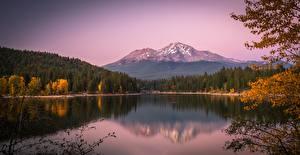 Фотографии США Осенние Озеро Горы Лес Калифорнии Lake Siskiyou, Mount Shasta, Cascade Range Природа