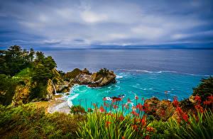 Картинки США Берег Океан Калифорния Утес