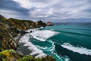 Картинки США Побережье Океан Калифорнии Скала Природа