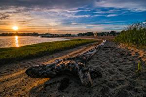 Фотографии Америка Берег Рассветы и закаты Песке Солнце Clinton Town Beach Connecticut Природа