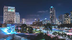 Фотографии США Дома Калифорния Ночью Сан-Диего Города