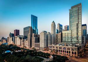 Фотографии США Дома Чикаго город Улица город