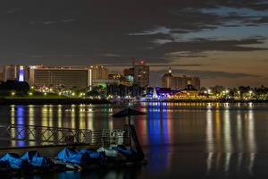 Фото Штаты Здания Пирсы Калифорнии Залива Ночные Long Beach город